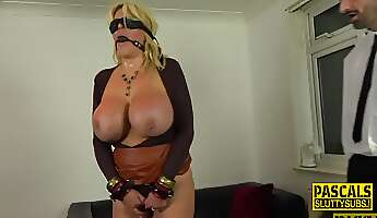Real blonde cougar with huge tits rides