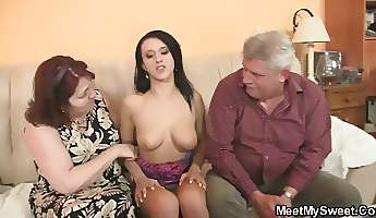 Innocent girl is seduced by granny and romped by old daddy